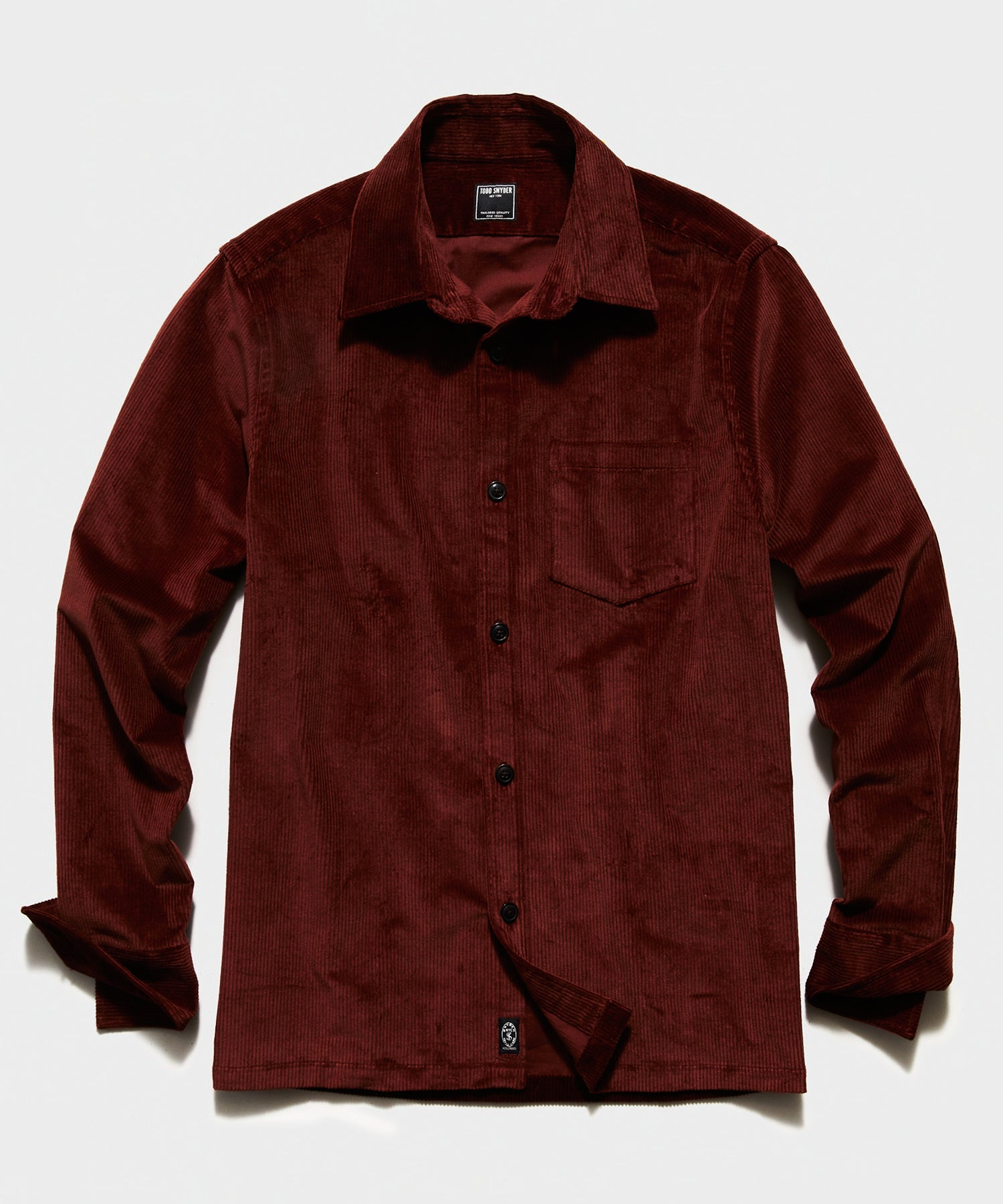 Italian Corduroy Overshirt in Rust