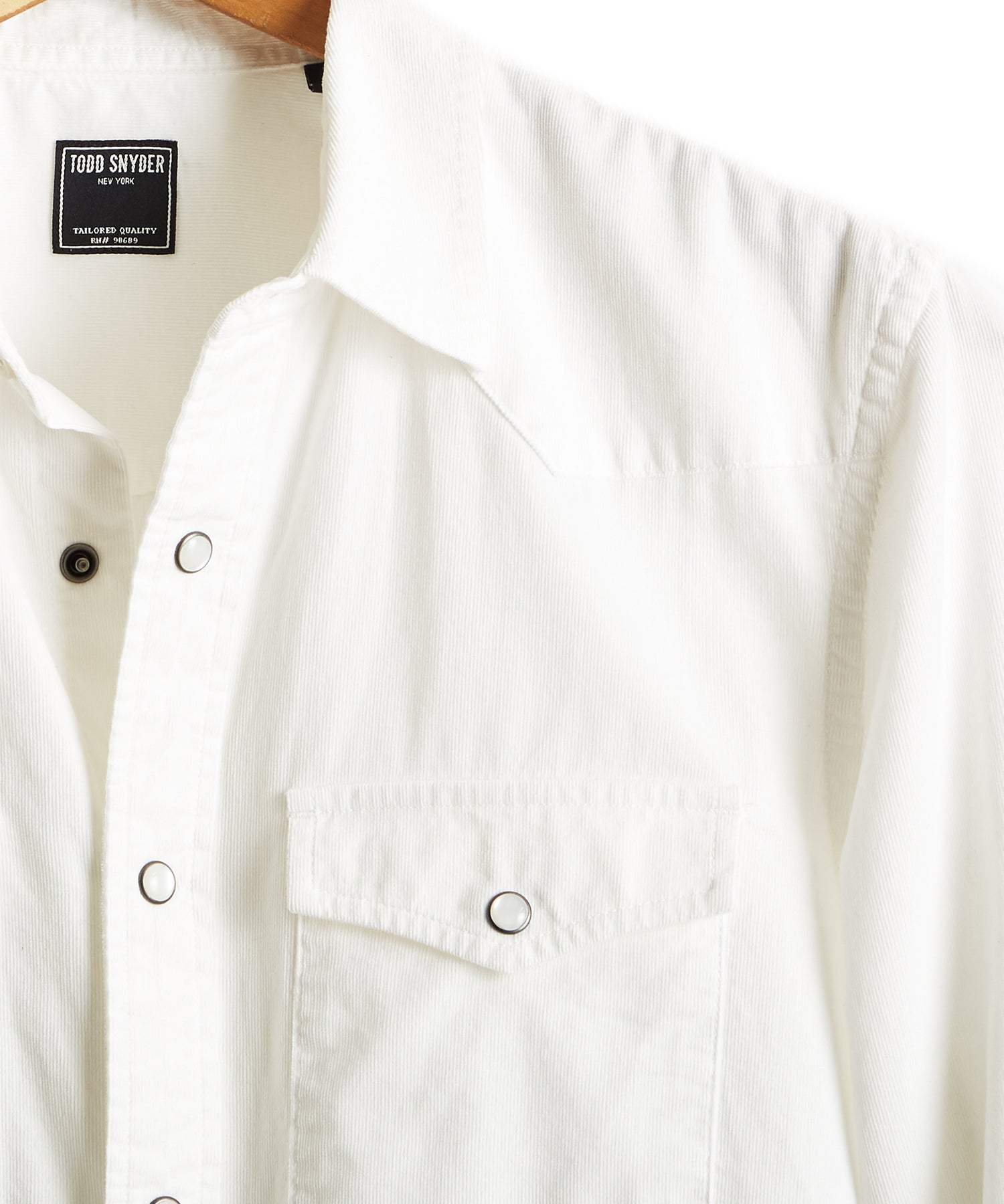 Micro Corduroy Western Shirt in Ivory