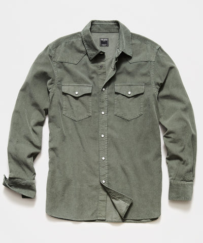 Micro Corduroy Western Shirt in Olive