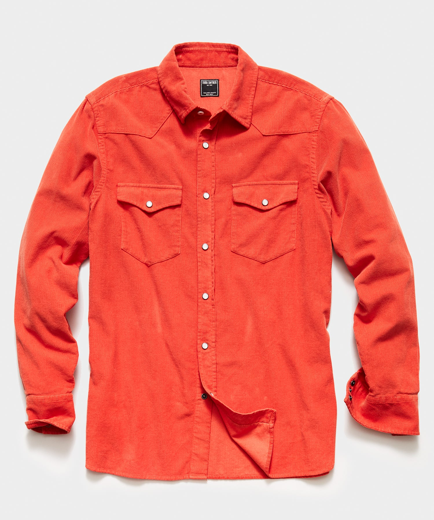 Micro Corduroy Western Shirt in Orange
