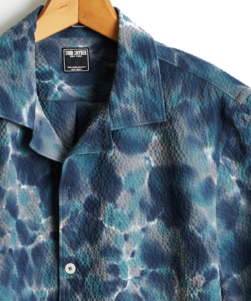 Short Sleeve Tie Dye Seersucker Shirt in Blue
