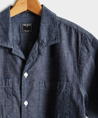 Japanese Chambray Camp Collar Short Sleeve Shirt in Indigo