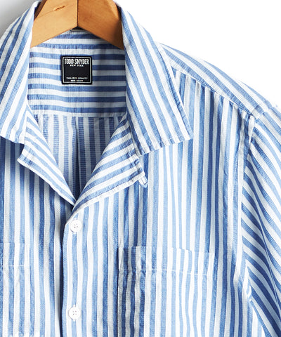 Short Sleeve Two Pocket Camp Collar Blue Stripe Shirt