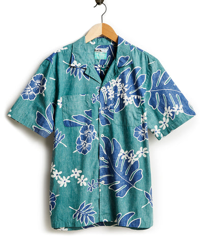 Exclusive Todd Snyder + Reyn Spooner Short Sleeve Shirt in Green Palm