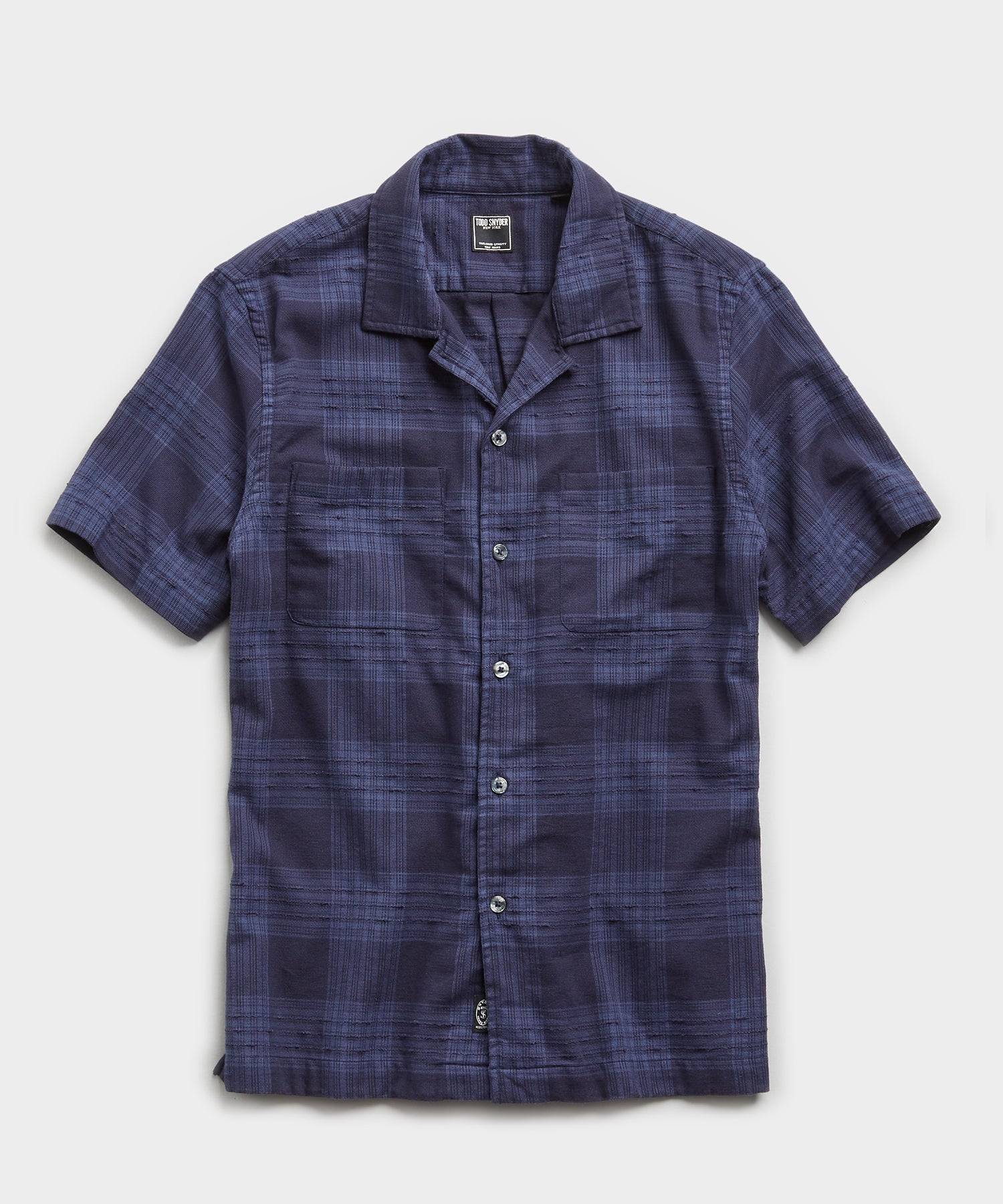 Portuguese Two Pocket Boucle Plaid Short Sleeve Shirt in Navy