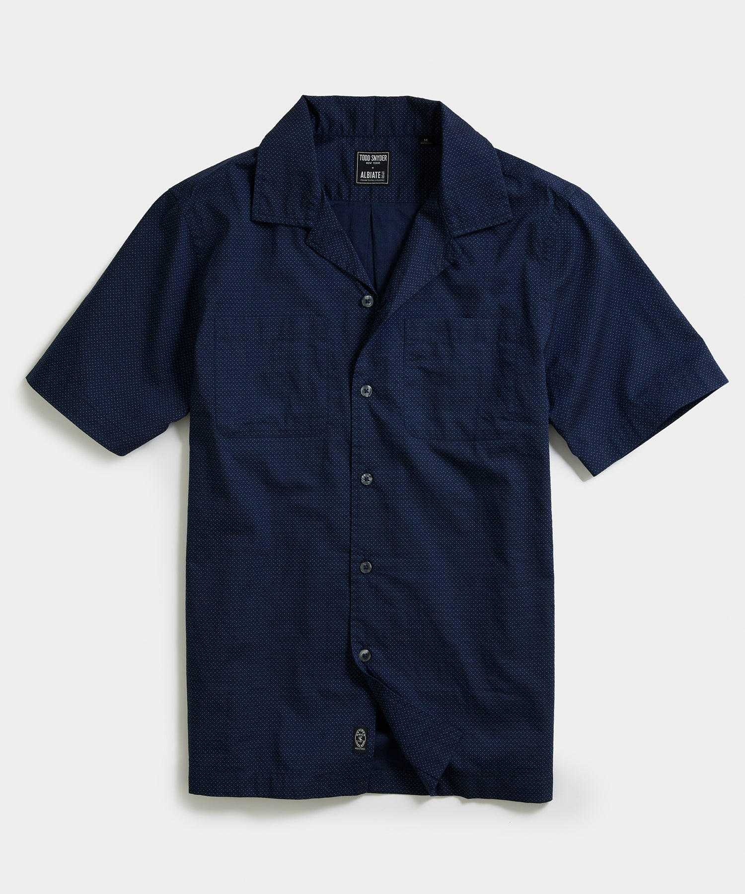 Short Sleeve Micro Polka Dot Camp Collar Shirt in Navy