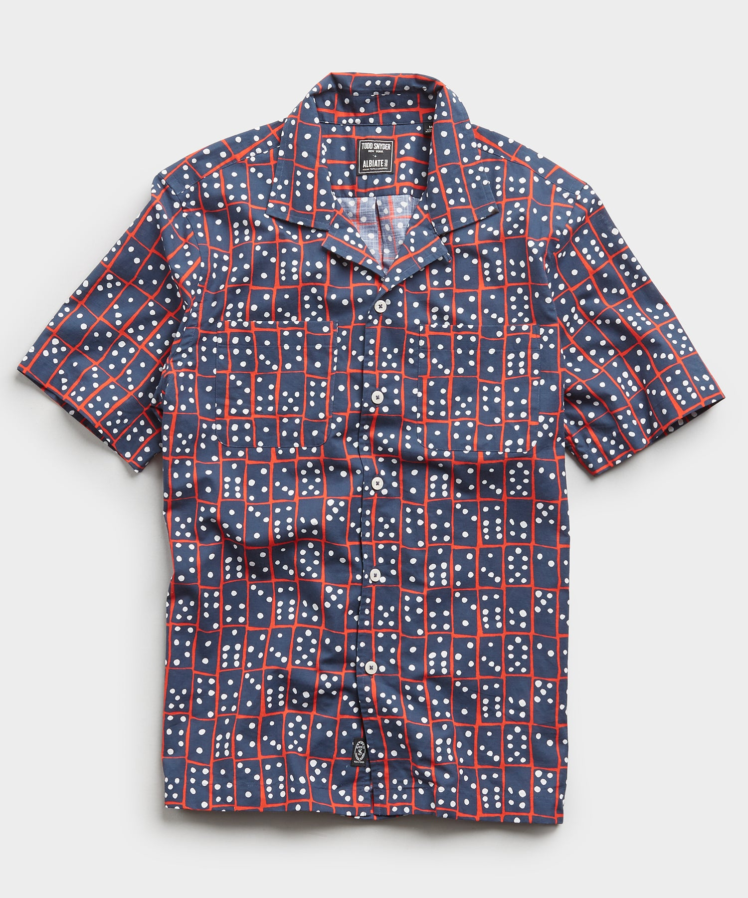 Limited Edition Domino Print Camp Collar Short Sleeve Shirt in Navy