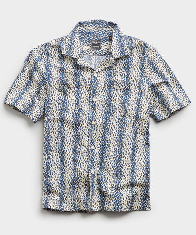 Leopard Print Camp Collar Short Sleeve Shirt