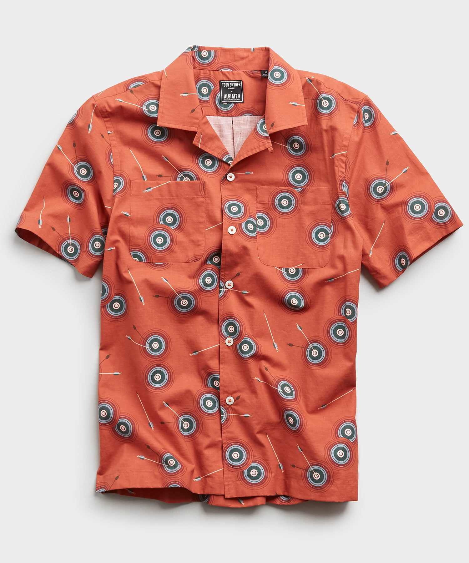 Limited Edition Bullseye Print Camp Collar Short Sleeve Shirt in Clay