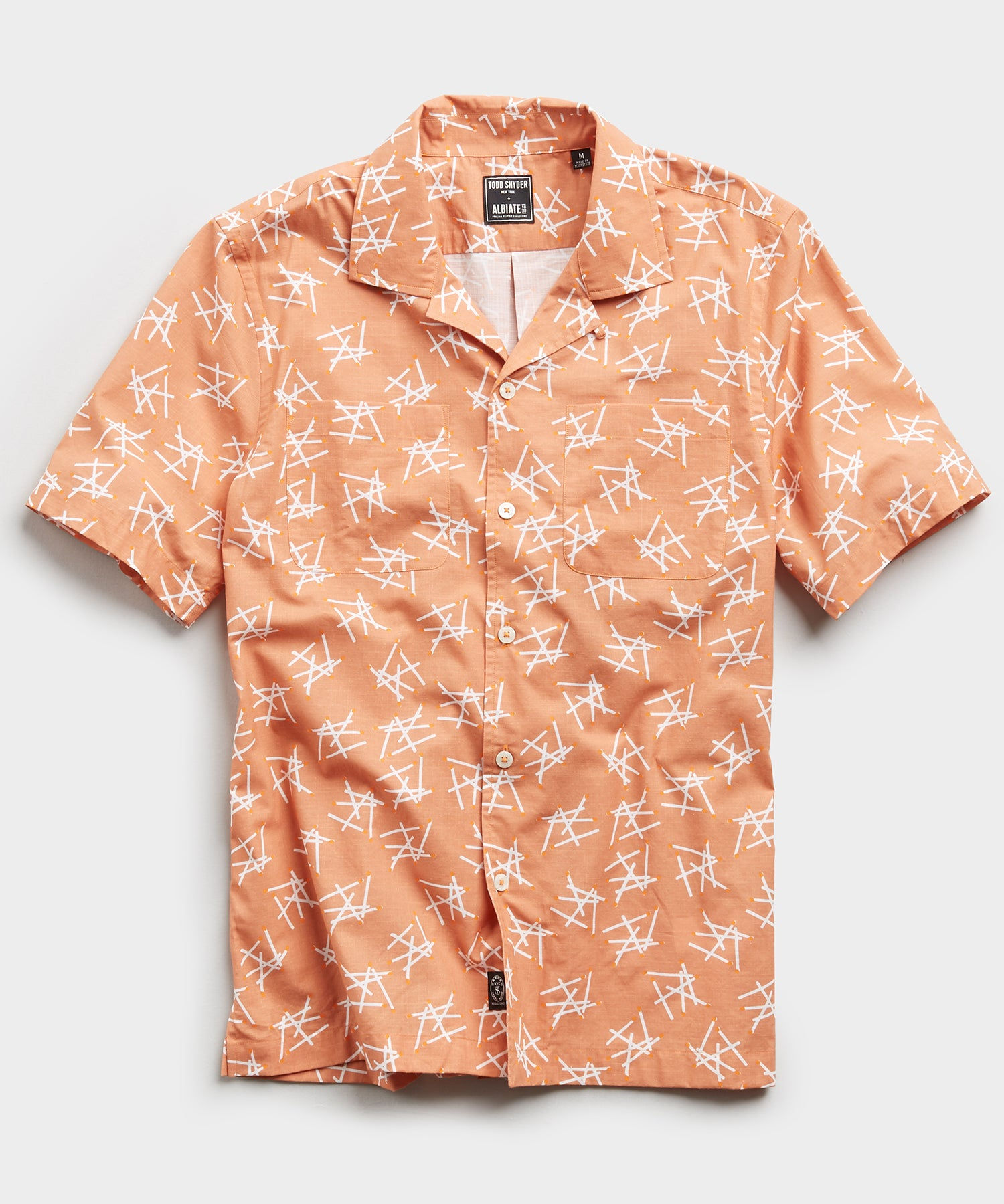 Limited Edition Matchstick Print Camp Collar Short Sleeve Shirt in Peach
