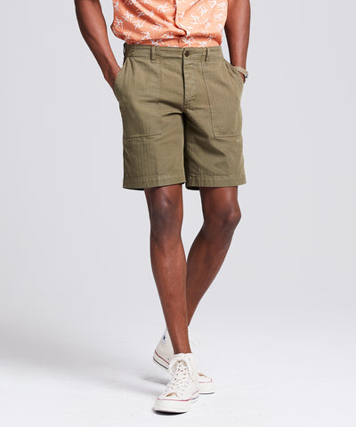 "9.5"" Herringbone Camp Short in Olive"
