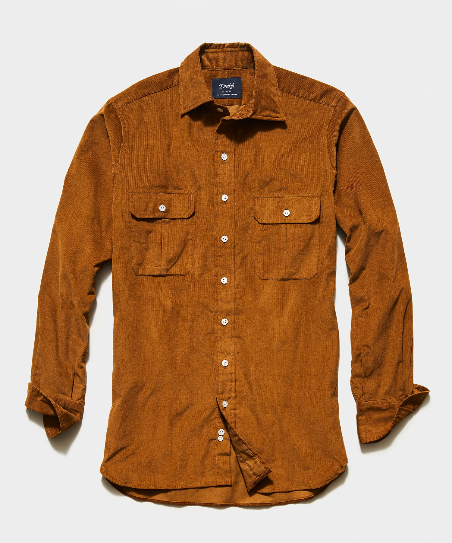 TS x Drake's Corduroy Workshirt in Brown