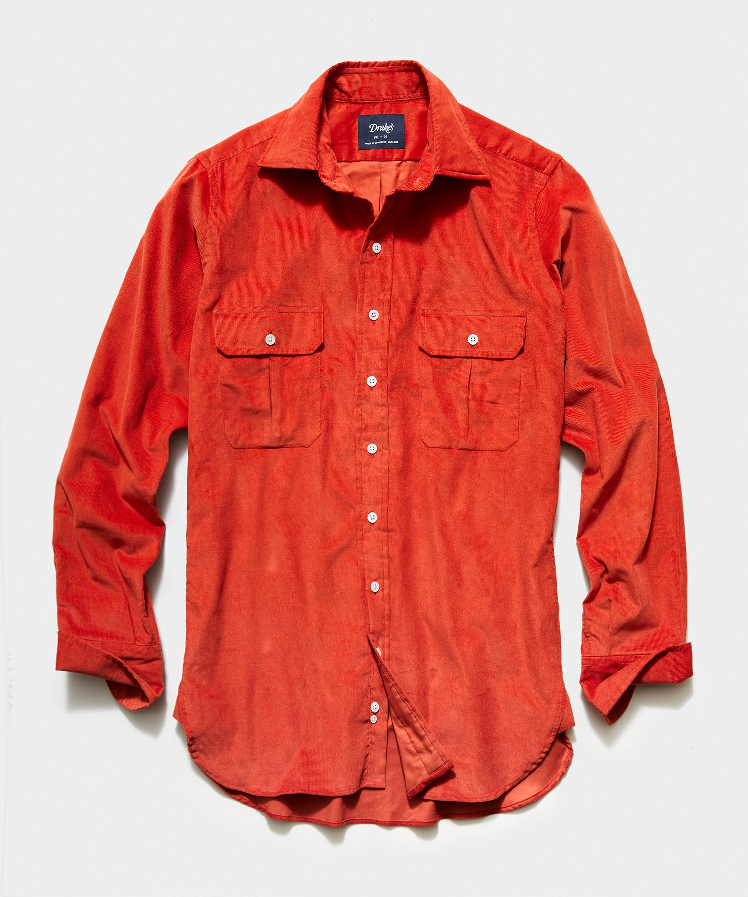 TS x Drake's Corduroy Workshirt in Orange