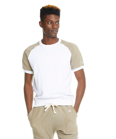 Colorblock Short Sleeve Sweatshirt in Dark Driftwood