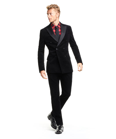 Made in the USA Micro Corduroy Peak Lapel Jacket Double Breasted Tuxedo in Black