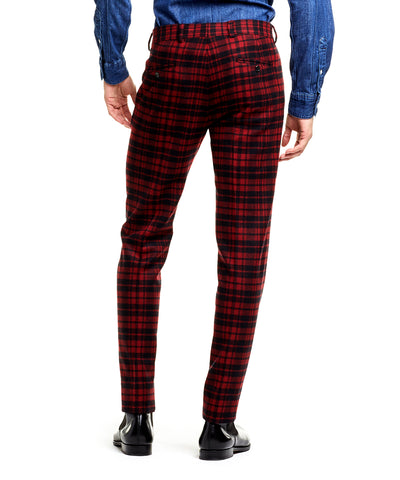 Made in USA Plaid Flannel Suit Trouser in Red