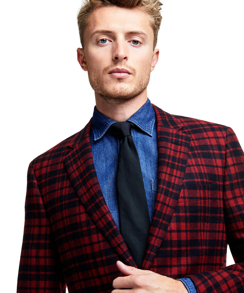 Made in USA Plaid Flannel Suit Jacket in Red