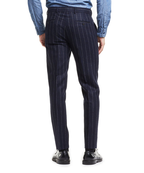 Made in USA Wool Chalk Stripe Suit Trouser in Navy