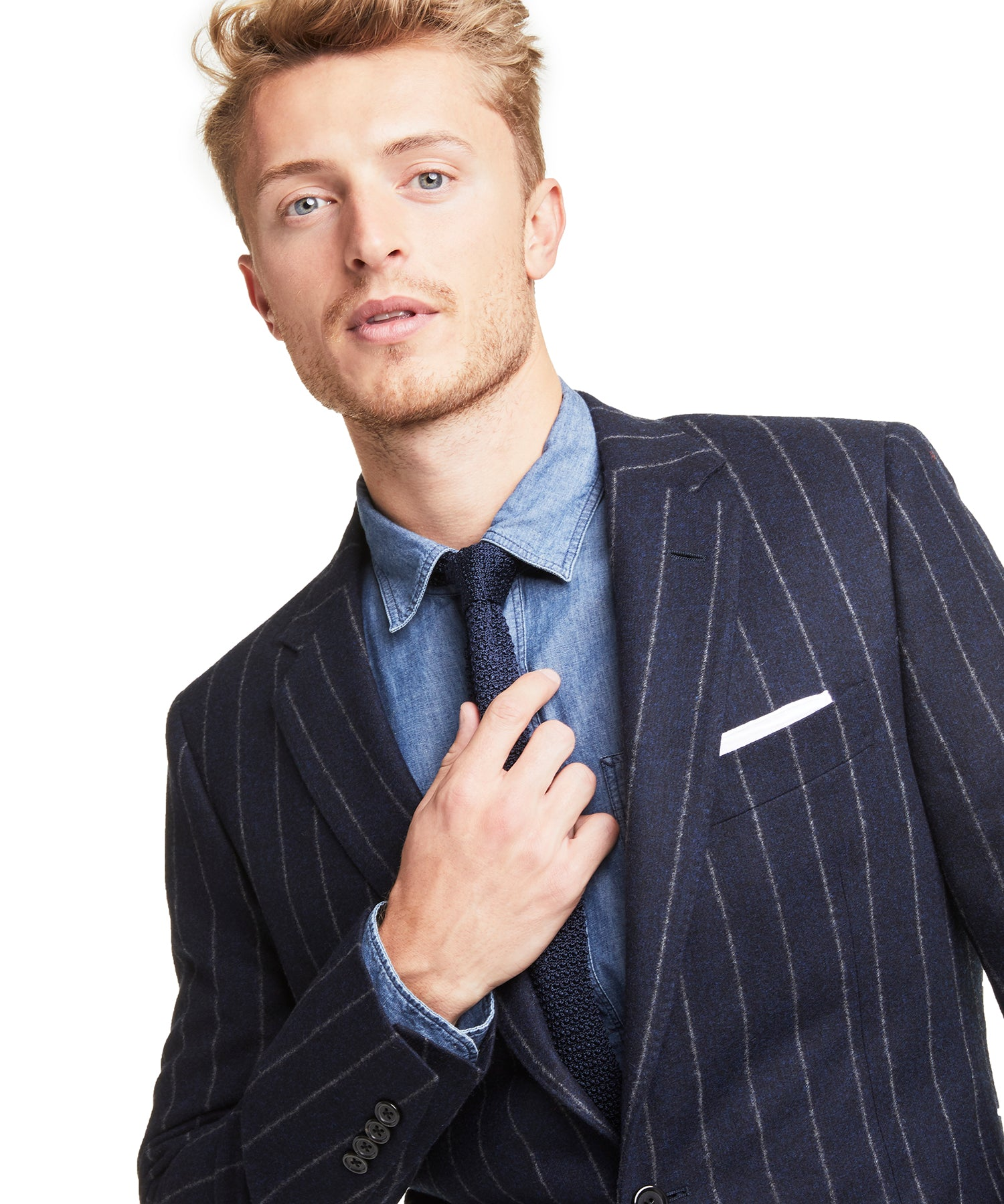Made in USA Wool Pinstripe Suit Jacket in Navy