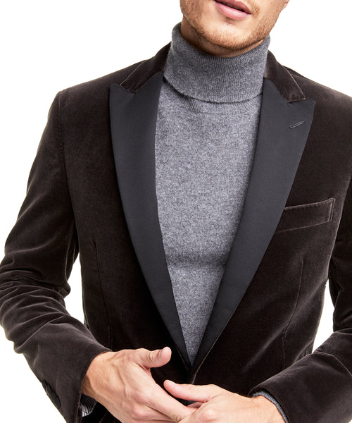Made in the USA Unconstructed Velvet Sport Coat in Charcoal