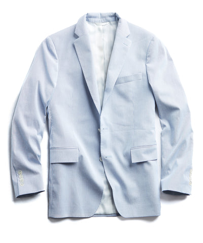 Fine Corded Cotton Stripe Sutton Suit Jacket in Blue