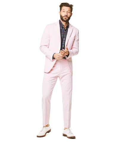 Fine Corded Cotton Stripe Sutton Suit Jacket in Pink