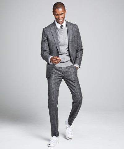 Wool Chalk Stripe Sutton Suit Jacket in Charcoal