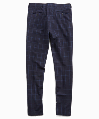 Wool Windowpane Sutton Suit Trouser in Navy