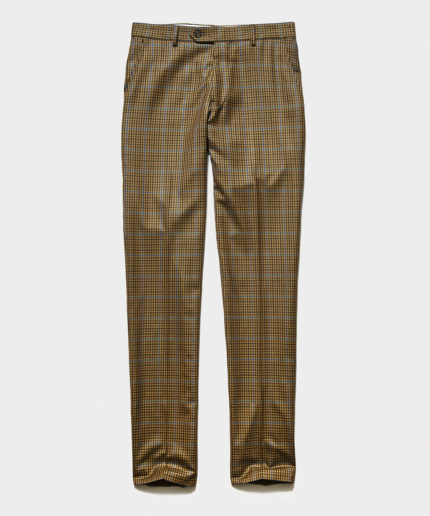 Sutton Italian Check Trouser in Olive Blue