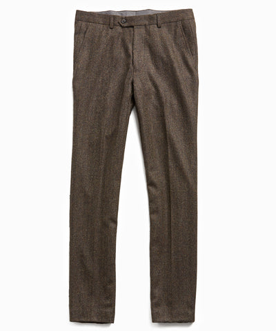 Wool Cashmere Herringbone Sutton Suit Trouser in Olive