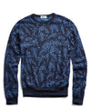 John Smedley Sea Island Cotton Jacquard Leaf Sweater in Navy