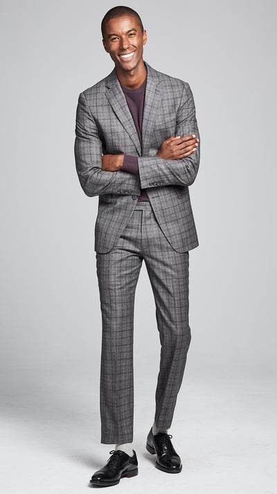 Wool Glen Plaid Sutton Suit Trouser In Grey