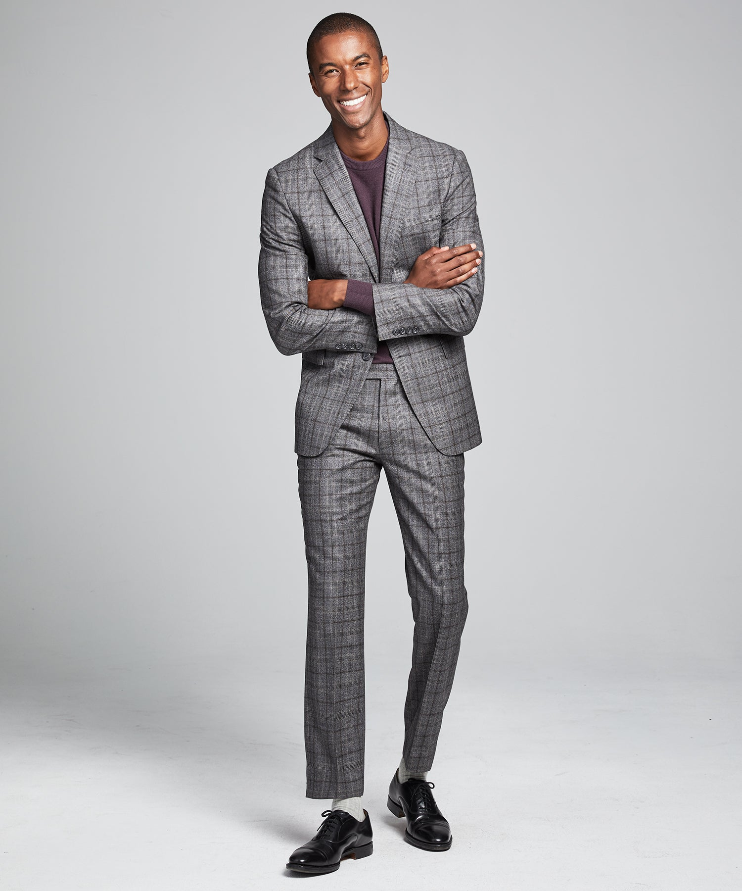 Wool Glen Plaid Sutton Suit in Grey