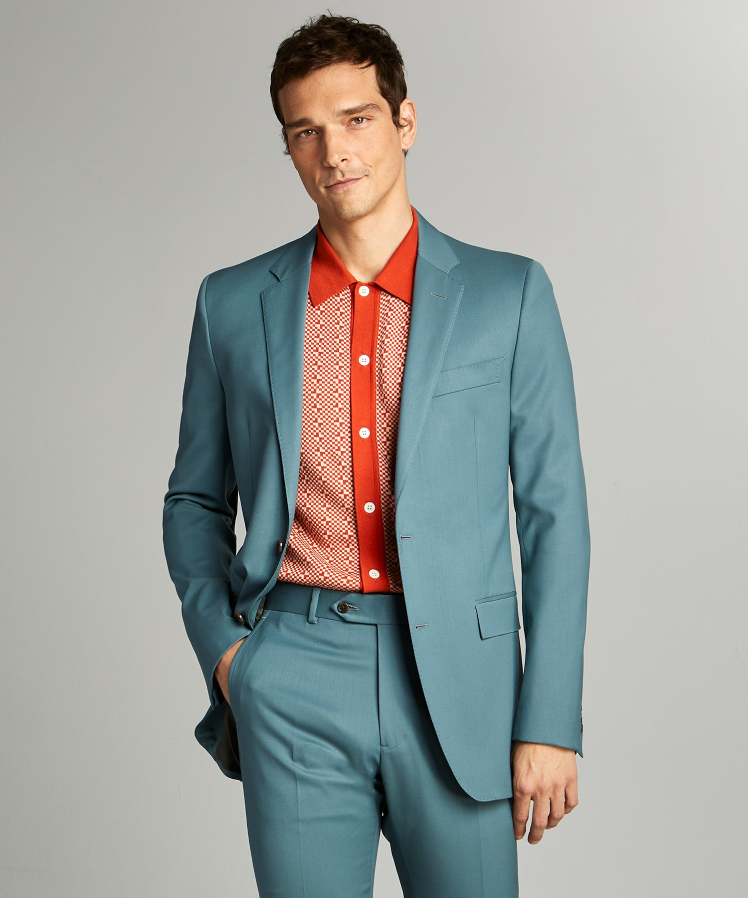 Sutton Wool Gabardine Suit Jacket in Aqua