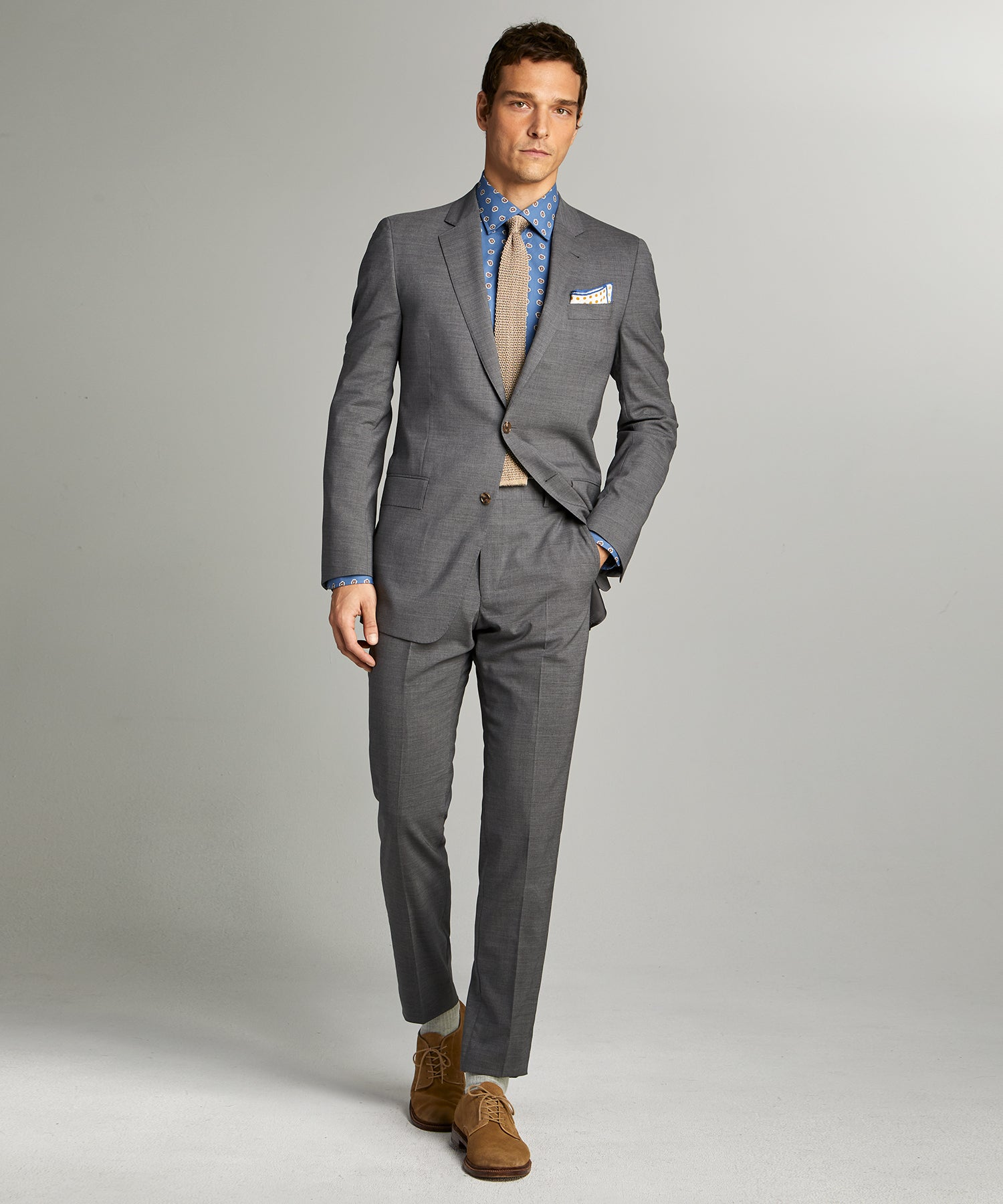Sutton Tropical Wool Suit in Dark Charcoal
