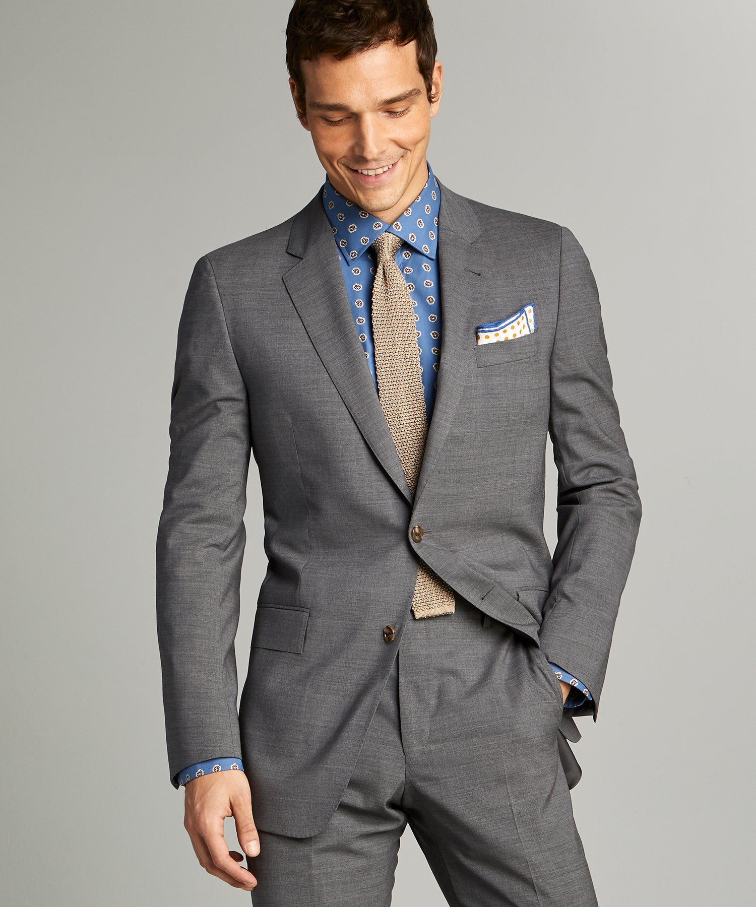 Sutton Tropical Wool Suit Jacket in Dark Charcoal