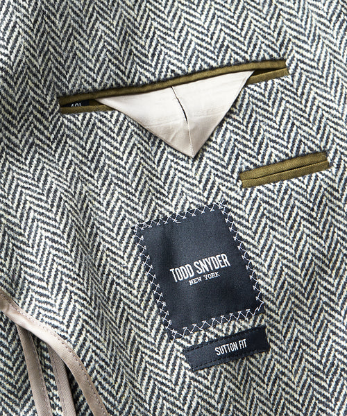Made in USA Black Label Sutton Unconstructed Herringbone Sportcoat