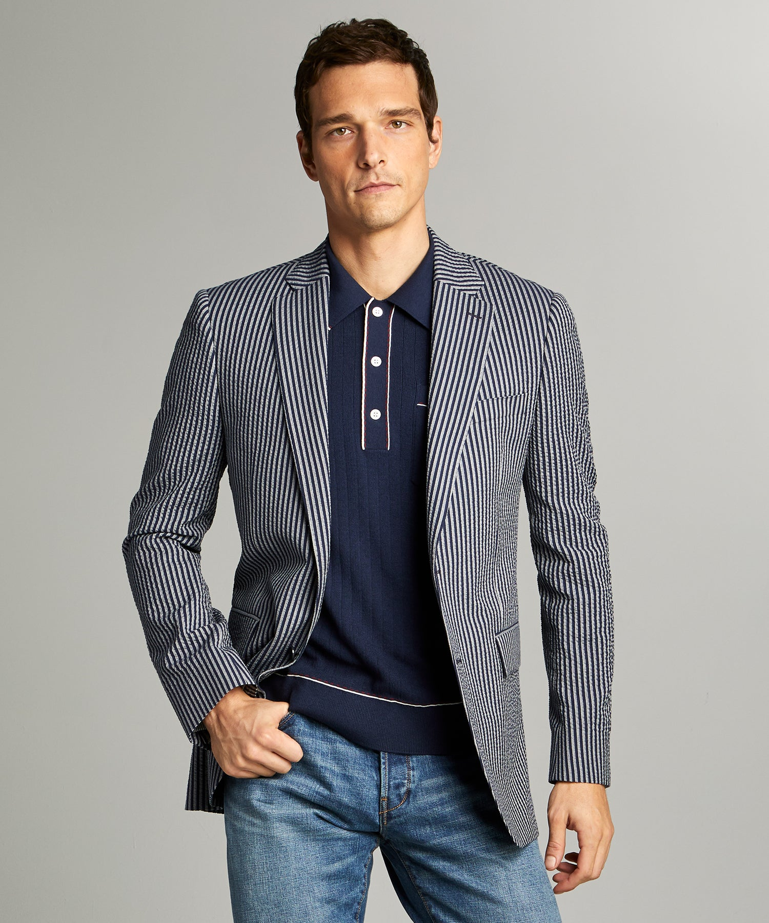 Sutton Seersucker Sportcoat in Navy Grey Stripe