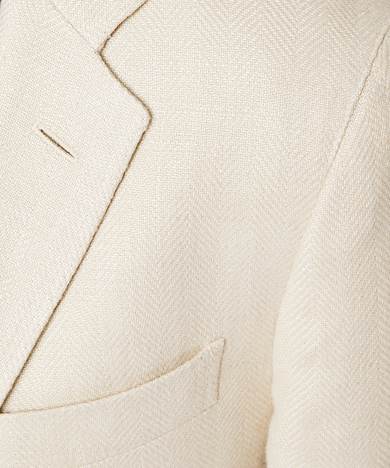 Linen Herringbone Unconstructed Sutton Sport Coat in Beige