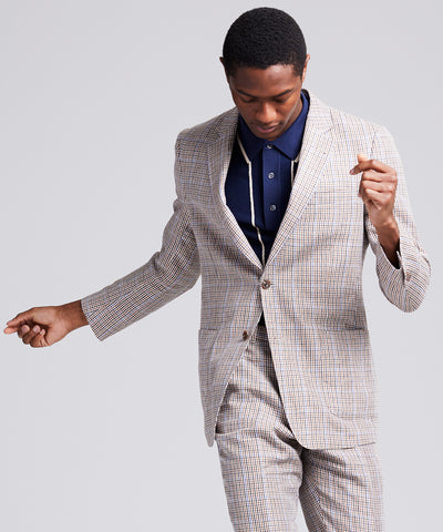 Sutton Linen Check Sportcoat in Blue Brown Check