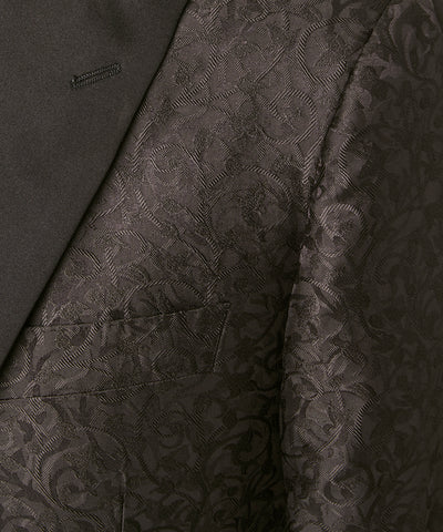 Silk Tonal Jacquard Sutton Peak Lapel Dinner Jacket in Black