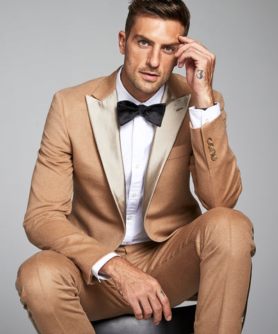 Peak Lapel Tuxedo Jacket in Camelhair