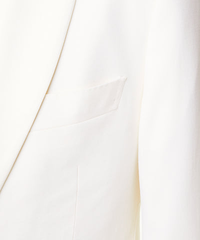 Sutton Shawl Collar Tuxedo Jacket in Ivory Italian Wool