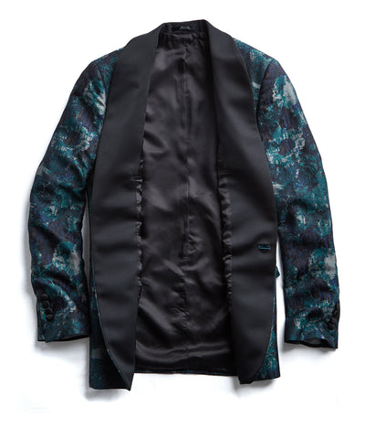 Silk Watercolor Jacquard Sutton Shawl Collar  Dinner Jacket in Green