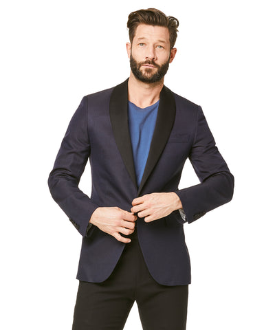 Silk Textured Jacquard Sutton Shawl Collar Diner Jacket in Navy Pindot