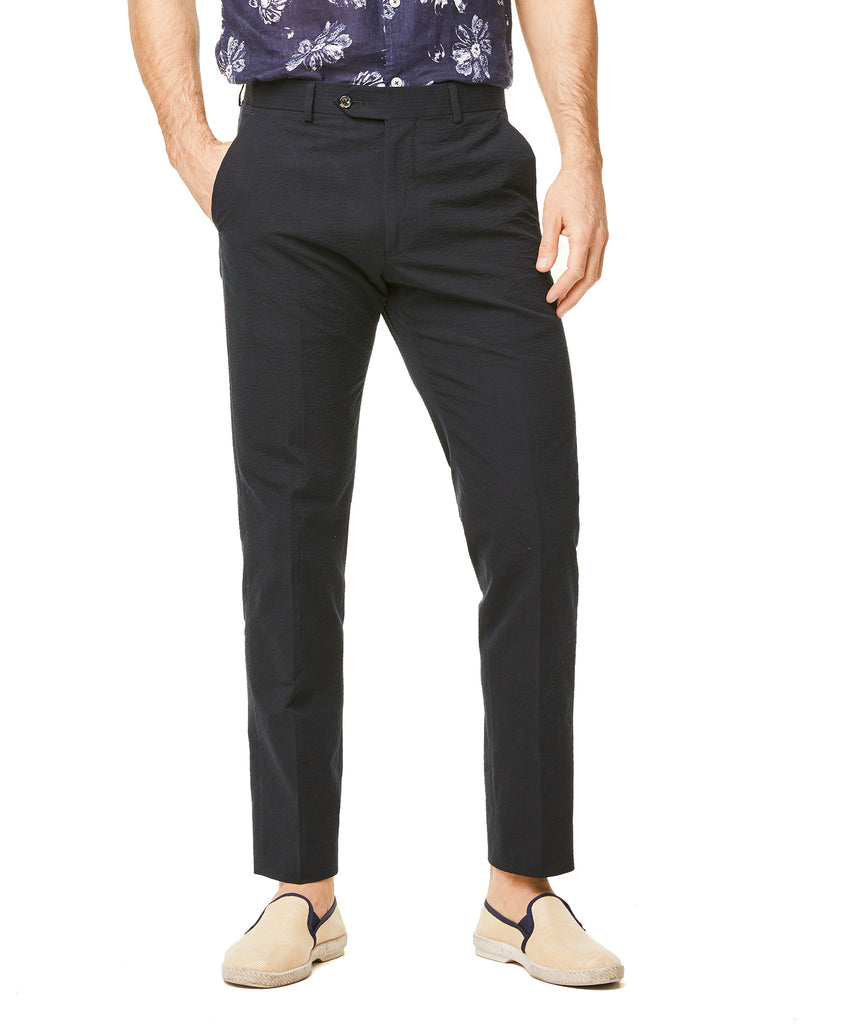 Seersucker Sutton Suit Trouser in Navy