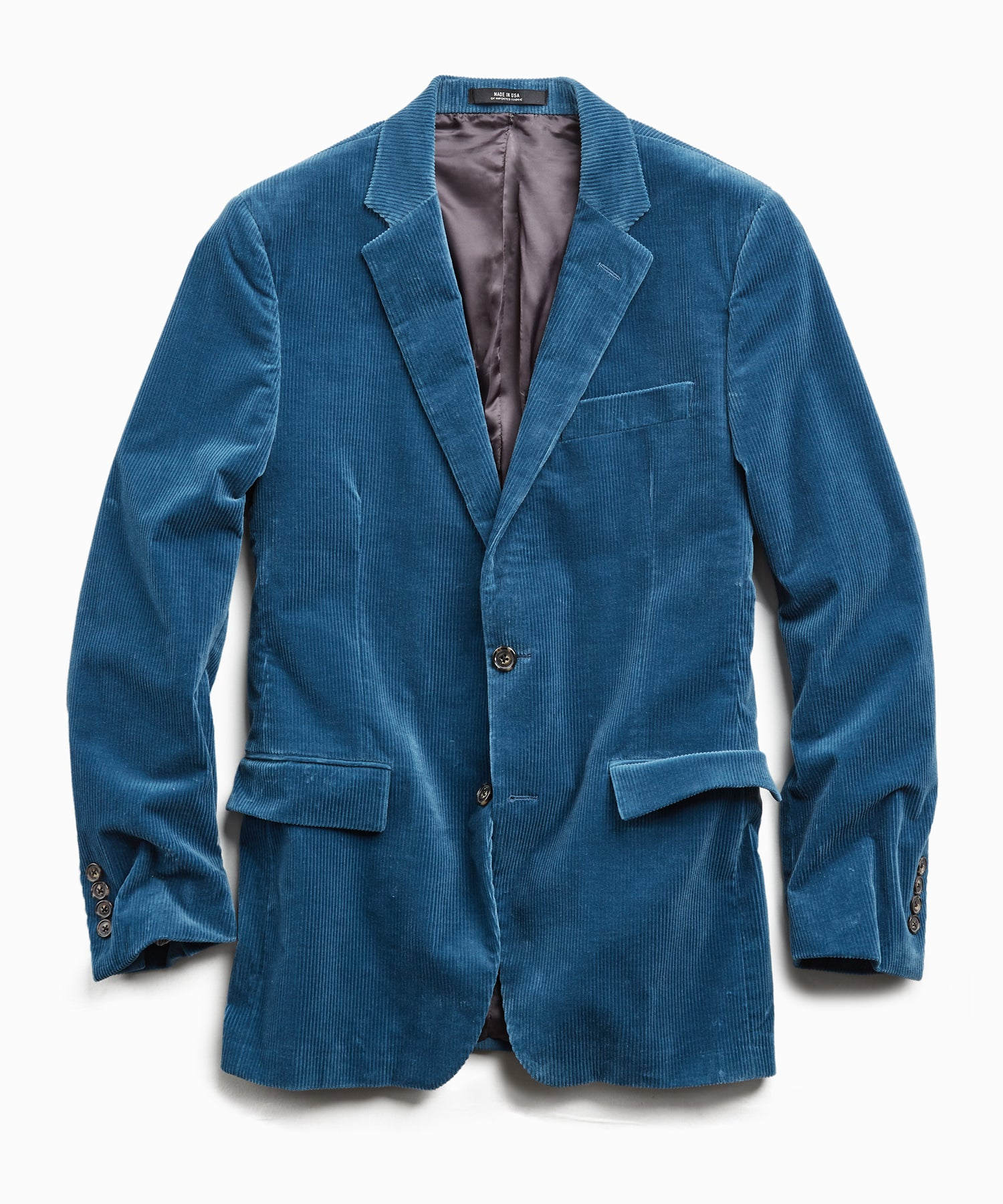Italian Stretch Cord Sutton Suit Jacket in Teal