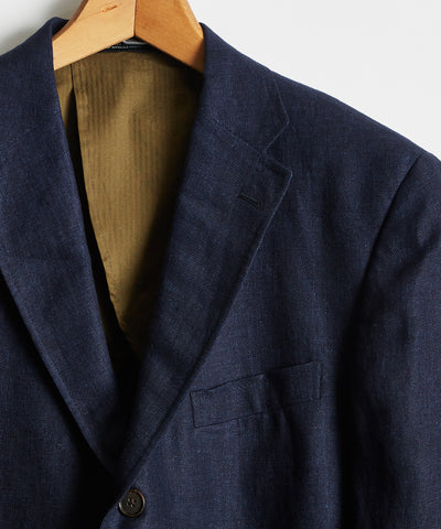 Linen Sack Suit Jacket in Indigo