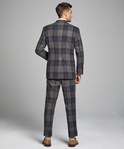 Oversized Check Sack Suit Coat in Charcoal