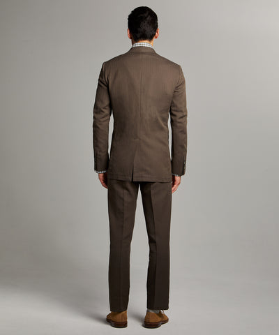 Herringbone Linen Sack Suit Jacket in Brown